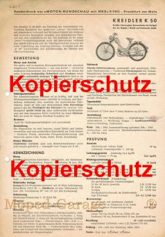 Kreidler K 50 Sonderdruck Motor Rundschau 1952 Moped Daten Bewertung Kopie