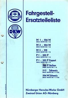 Hercules M 1 2 3  P 1 DKW 505 506 512 Ersatzteil Liste Teilekatalog