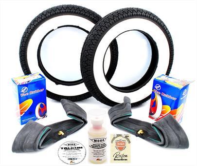 Honda Dax Kenda 3,50 x 10 Weisswand Reifen Schlauch Satz 7 teilig