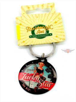 Rockabilly Lucky Star Schlüssel Anhänger Metall