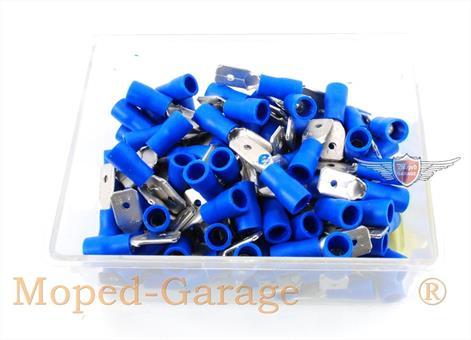 Mofa Moped Mokick Isolier Kabel Schuhe Blau 6,3mm 100 Stück