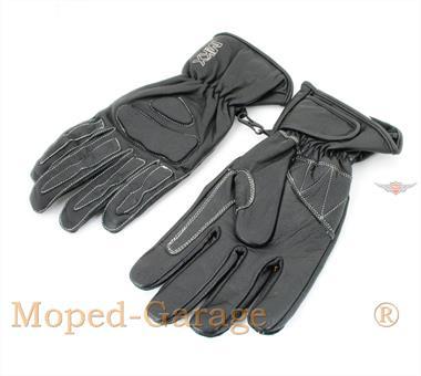 Mofa Moped Retro Leder Handschuhe Schwarz