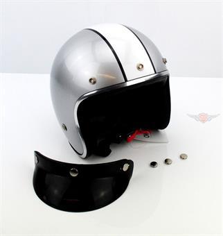 "Moped Motorrad Jet Helm Klassik "" Racer Jet "" Silber Weiß"