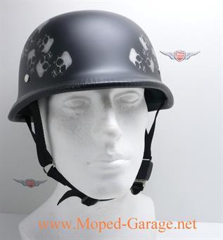 Motorrad Chopper Stahlhelm Halbschalen Helm Skull