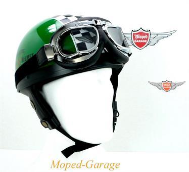 Oldtimer Halbschalen Helm Race Grün mit Brille