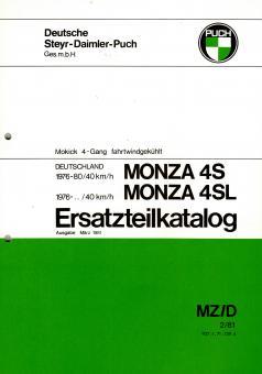 Puch Monza 4 S SL Ersatzteil Katalog Original Neu