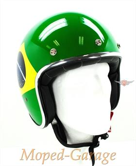 Retro Jet Helm Race Star Brasilien Flagge