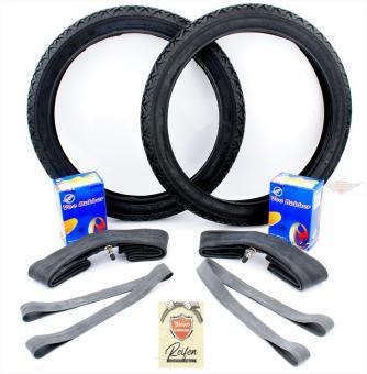 Maico Mofa 25 Vee Rubber Reifen + Schlauch Satz 2 1/4 x 16 Zoll 7 teilig