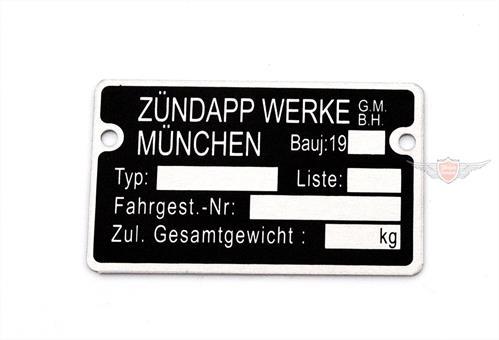 Zündapp CS GTS KS R Combinette ZD C Bergsteiger MOGA Rahmen Typenschild 19..
