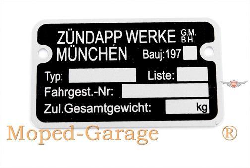 Zündapp CS GTS KS R Combinette ZD C Bergsteiger Rahmen Typenschild 197..