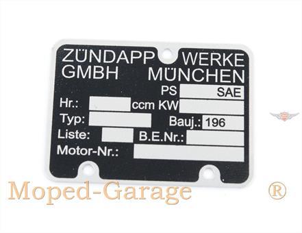 Zündapp CS GTS KS R Combinette ZD C Bergsteiger Motor Typenschild 196..