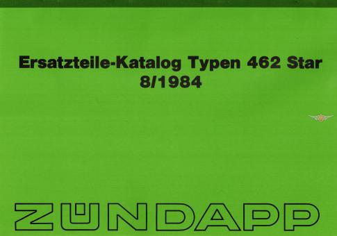 Zündapp Star 1 2 Typ 462 Ersatzteil Katalog Original