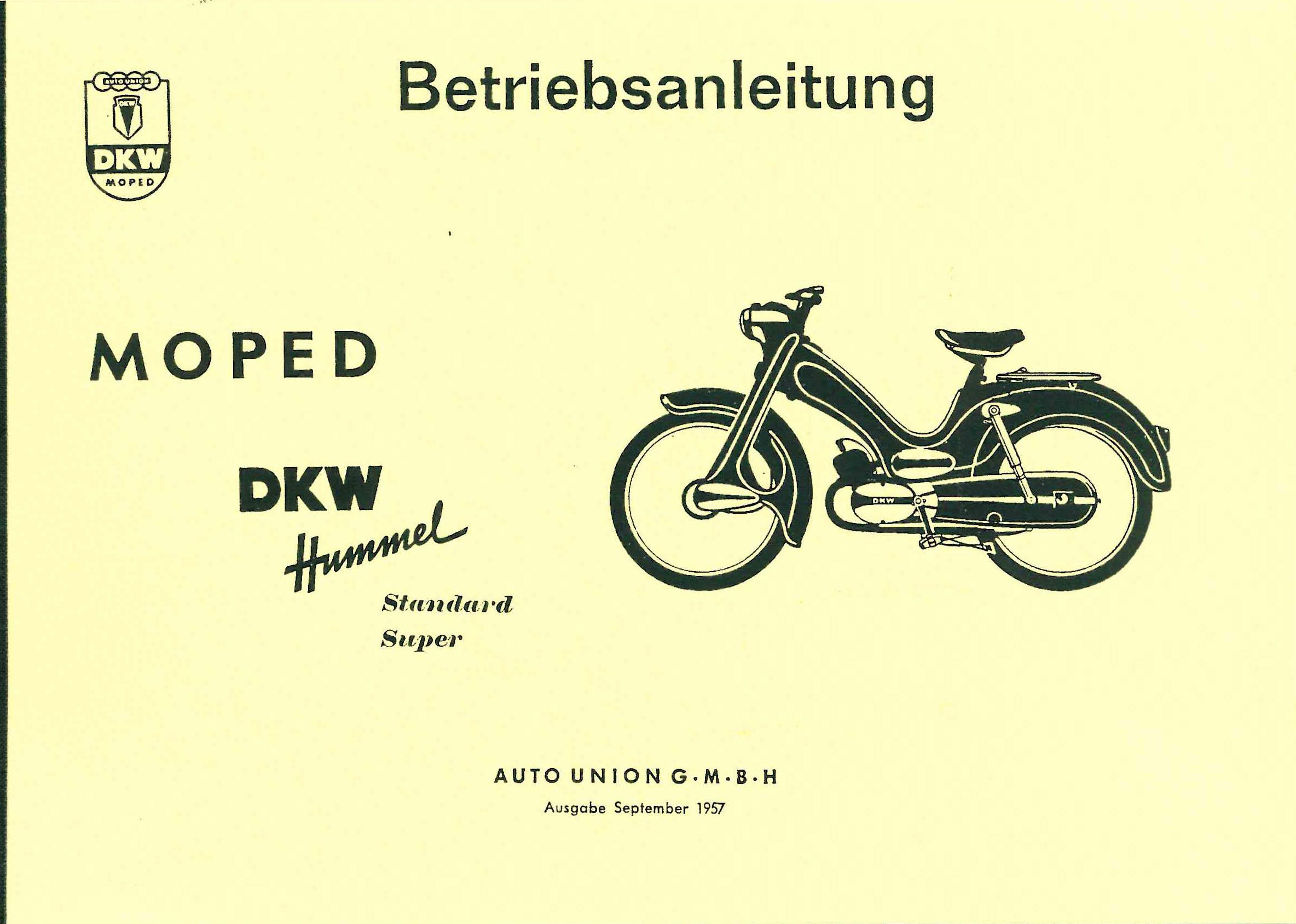 moped dkw hummel super standard bedienung. Black Bedroom Furniture Sets. Home Design Ideas