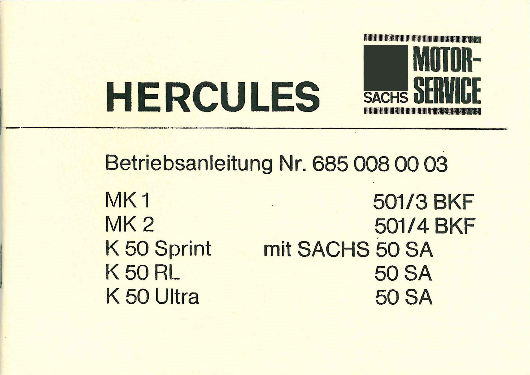 Hercules KX 5 KKR Bedienung Anleitung Daten Technik Handbuch Neu