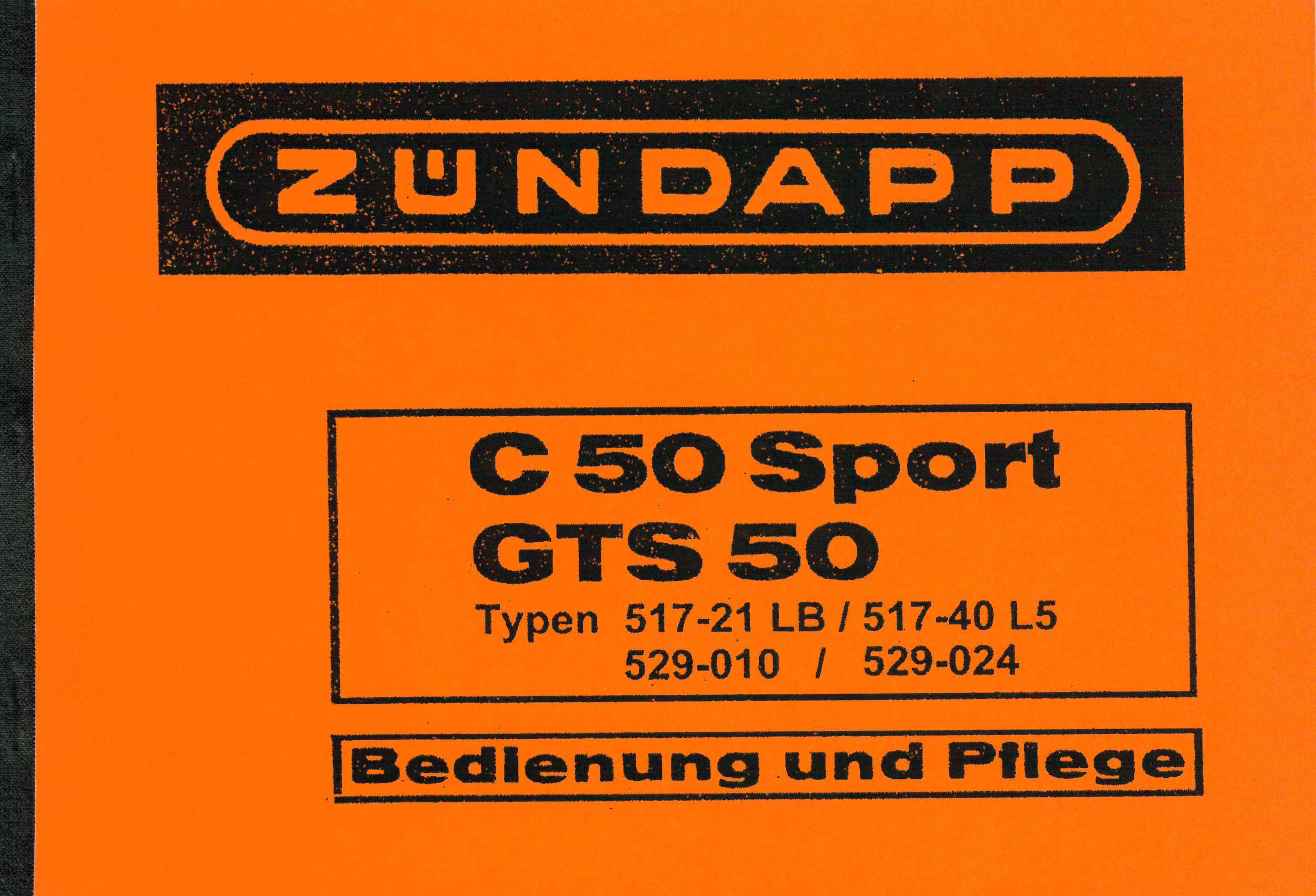 Moped-Garage.net | Zündapp C 50 Sport GTS 50 Typ 517 / 529 Bedienung ...