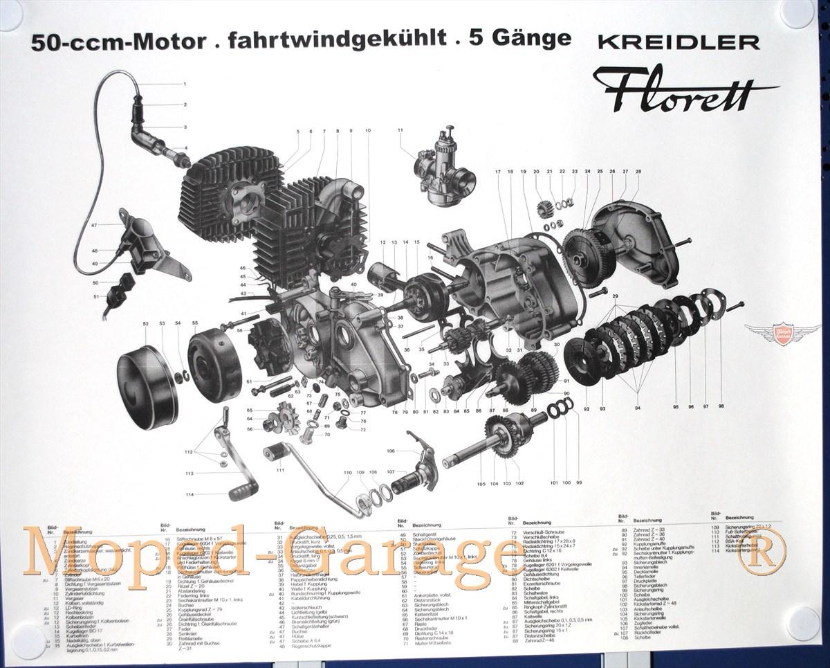 Moped-Garage.net | Kreidler Florett RS 5 Gang Motor Explosions ...