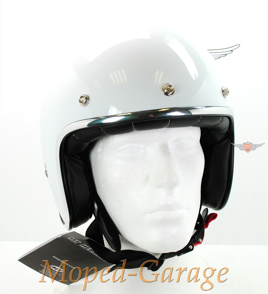 moped retro jet helm race glanz wei. Black Bedroom Furniture Sets. Home Design Ideas