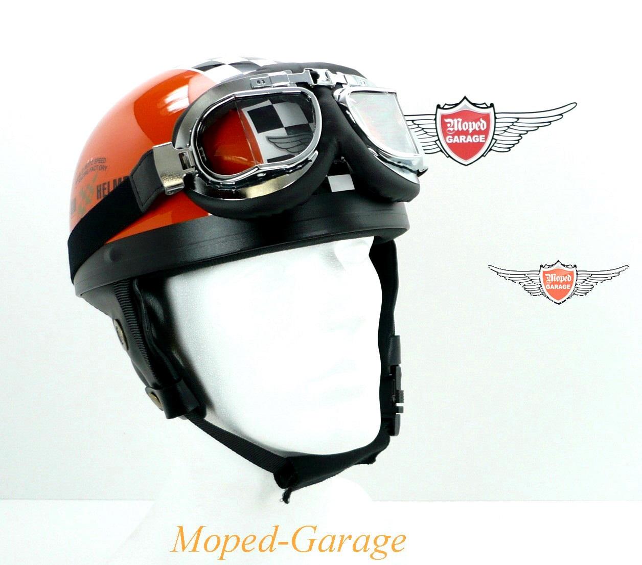 moped oldtimer halbschalen helm race orange. Black Bedroom Furniture Sets. Home Design Ideas